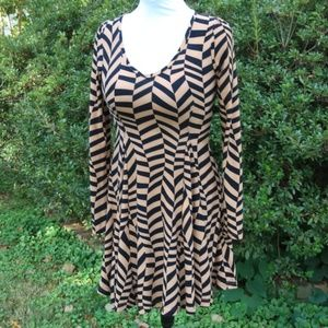 Cecico Black and Tan Skater Dress Size Small